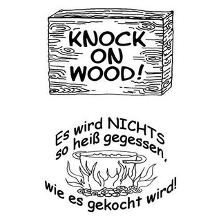 Stempel Clear, KNOCK ON WOOD!, A7 / 74 x 105 mm, 2 - teilig, transparent