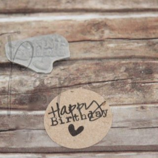 Holz-Stempel Happy Birthday (Herz)