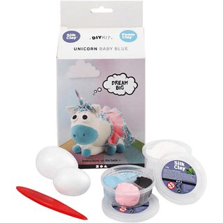 Bastelpackung: Silk Clay Funny Friends *Baby Blue* 8-teilig